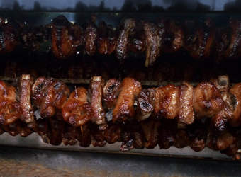 Char-grilled traditional meat skewer